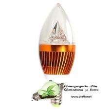 LED Крушка 3W Свещ E14 Студено Бяла Пирамида Злато