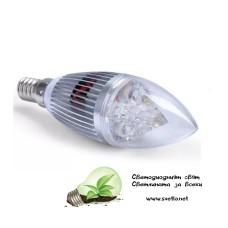 LED Крушка 3W Свещ E14 Студено Бяла Пирамида Хром
