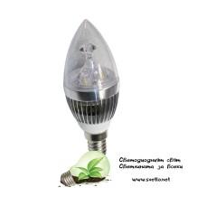 LED Крушка 3W Свещ E14 Студено Бяла Кристал Хром