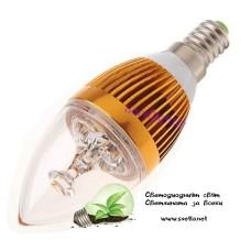 LED Крушка 3W Свещ E14 Студено Бяла Кристал Злато