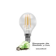 LED Крушка TUNGSRAM FILAMENT Топче 4,5W E14 300° 2700K Топло Бяла