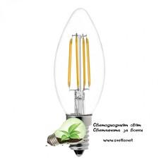 LED Крушка FILAMENT 4W 220V E14 C35 2700K Топло Бяла