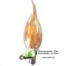 LED Крушка FILAMENT 4W 220V E14 C35 Пламък Gold 2200K Топло Бяла