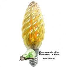 LED Крушка FILAMENT 4W 220V E14 C35 Шишарка Gold 2200K Топло Бяла