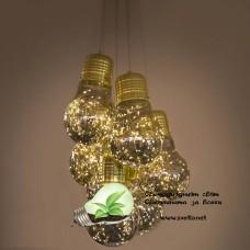 LED Пендел BULB II 7*5W +18.9W 3000K Ф450mm Стъкло