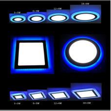 LED Луна Кръгла за Вграждане 6+3W 85-220V AC Студено Бяла със Синя Матова Периферия
