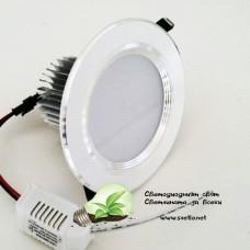 LED Луна за Вграждане 5W 220V AC Стил Силвър Студено Бяла