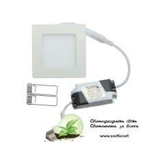 LED Луна за Вграждане 3W 220V AC Стил Квадрат Студено Бяла