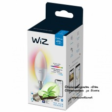 WIZ Wi-Fi LED лампа 4.9W C37 E14 470lm 2700K-6500K+RGB 15000h