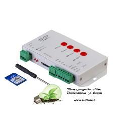 Универсален Контролер за Дигитално LED Осветление с SD-карта, 1 порт, 5-24V DC