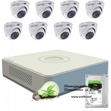 Full HD комплект за наблюдение Hikvision с 8 камери, DVR, 1 TB HDD хард диск