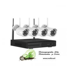WI-FI комплект за видеонаблюдение VandSec с 4 камери, NVR, VK-N4104W20-W